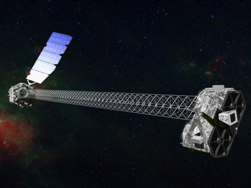 "NuSTAR Mission Status Report Image: Artist's concept of NuSTAR on orbit. NuSTAR has a 10-m (30') mast that deploys after launch to separate the optics modules (right) from the detectors in the focal plane (left). Image credit: NASA/JPL-Caltech   NASA's Nuclear Spectroscopic Telescope Array (NuSTAR) passed its Post-Launch Assessment Review at JPL this week, clearing the way for the mission to enter into its science operations phase in the next month. NuSTAR is currently in the final stages of ""Phase C/D,"" or the design and development phase, which included building and testing the flight hardware, launch and early operations (e.g., spacecraft checkout, mast deployment, instrument commissioning and calibrations). In August, NuSTAR will enter ""Phase E,"" or the operations phase, meaning that it will primarily gather science data.  Since obtaining its first-light images of the galactic black hole Cygnus X-1 on June 28, NuSTAR has been observing bright X-ray sources across the sky as part of the instrument commissioning. Last week, the mission participated in a major international cross-calibration campaign where NuSTAR and NASA's Chandra and Swift telescopes, together with INTEGRAL, Suzaku, and XMM-Newton, observed the quasar 3C 273 in concert. Quasar 3C 273, an extremely bright high-energy source at a distance of 2.4 billion light years, is the first quasar ever to be identified and is the optically brightest quasar in the sky. The coordinated observations of this bright, variable source will allow X-ray satellites to accurately measure their relative sensitivities and to conduct science investigations with joint data sets.  One example of a joint science observation took place between July 21 and 24. NuSTAR observed the supermassive black hole that resides at the center of our own Milky Way galaxy as part of a large, multi-wavelength campaign. This supermassive black hole, our closest example, is known as Sagittarius A* and weighs approximately 4 million times as much as the sun. NuSTAR obtained high-energy X-ray data on Sagittarius A*, complementing coordinated infrared images obtained with the Keck telescopes, low-energy X-ray data obtained with Chandra, and very high-energy gamma-ray data obtained with the High-Energy Stereoscopic System (HESS). These data will monitor the flickering of Sagittarius A* as it grows by accreting matter, thereby teaching astronomers about the extreme environments around black holes and the physics of black hole growth.  Soon, NuSTAR will begin its hunt for hidden black holes in our galaxy and beyond. For more information, visit http://www.nasa.gov/nustar and http://www.nustar.caltech.edu/.    Written by NuSTAR Project Scientist Daniel Stern NASA's Jet Propulsion Laboratory / California Institute of Technology  Pasadena, Calif."