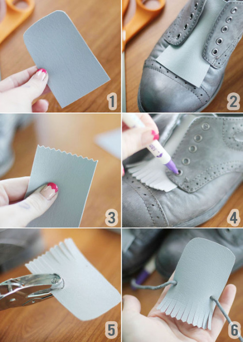 DIY shoe fringeblogspot.com I'm a total suck­er for shoes with fringe, even the ugli­est of shoes is some­how charm­ing to me with fringe. So I decid­ed to give it a go and try and make fringe that I could add to make all my already awe­some shoes just a lit­tle bit…