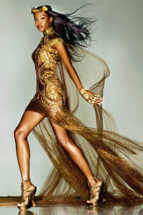 "csebastian:  ""Midas Touch"" (+) Vogue UK, September 2012 photographer: Nick Knight Naomi Campbell in Alexander McQueen for the London 2012 Olympic Games Closing Ceremony // tallskinnyasian:naomihitme"