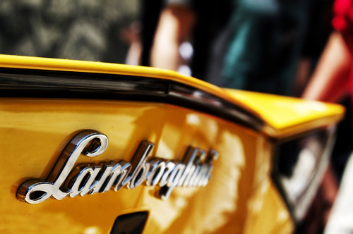 Yellow Lamborghini, Rear Logo Photograph.