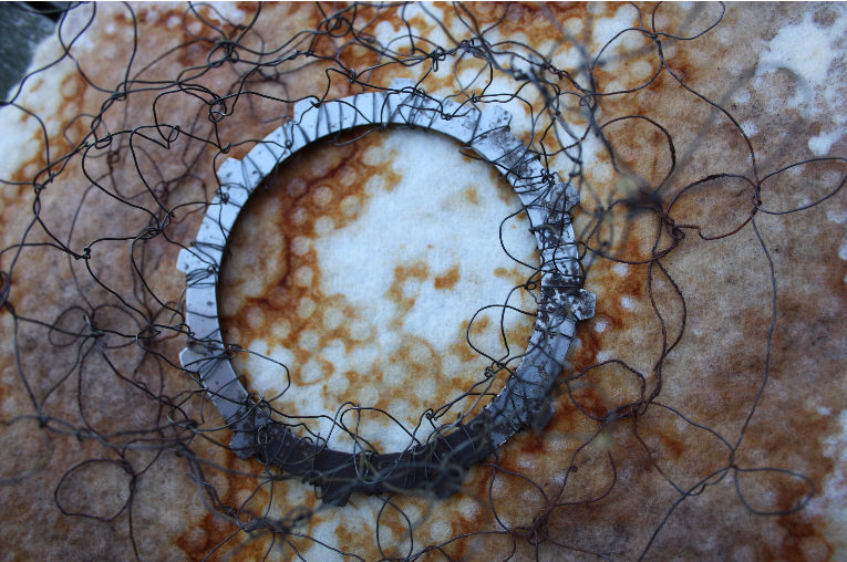 yarnconfessions:  memory of iron age, felt, wire, rust, made by Marijke Eken