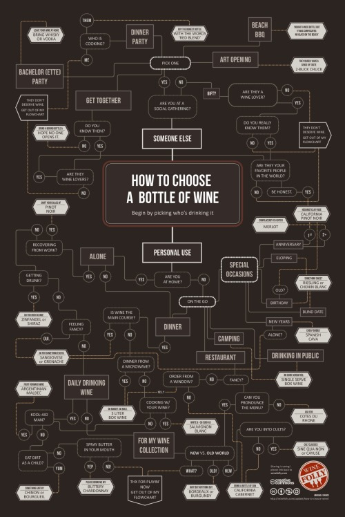 Flowchart: How To Choose A Bottle Of Wine Seattle-based online wine course company Wine Folly has created a flowchart on how to choose wine.