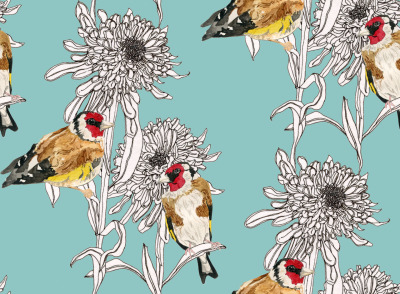 Goldfinches & Asters New and improved version of this pattern - rescanned with my lovely new scanner and the quality is so much better! Looking forward to getting this printed onto fabric, it's one of my favourite patterns I've created.