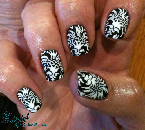 theillustratednail:  Black and white floral…