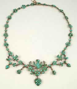 highvictoriana:  Persian turquoise necklace with birds and hearts, c. 1870-1880.  We have a similar necklace for sale in our shop!