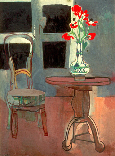 "Francoise Gilot  The Green Chair, 1958 Oil on canvas, 51 1/4 x 38 1/4 in. (130 x 97 cm.) Private Collection, California ""This rather somber still life presents symbolic elements of sadness against the crucifix form of a blackened window, which holds little vision of the future. A vase of her grandmother's favorite anemones appear to be the only hopeful note in this tableau that focuses on an empty chair, once belonging to her grandmother, now silently empty. Gilot's supportive grandmother died in 1951. This canvas, imbued with emotion, was painted soon after the death of Gilot's father in 1957. "" - The F. Gilot Archives"