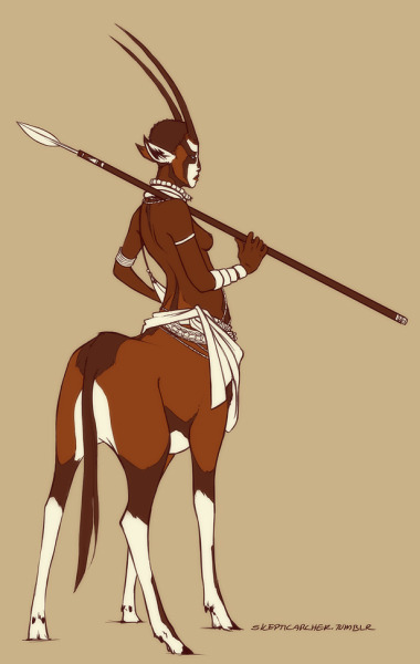 roachpatrol:  skepticarcher:  Monster Ladies Day 2 - Centaur!  Gemsbok centaurs are the best.