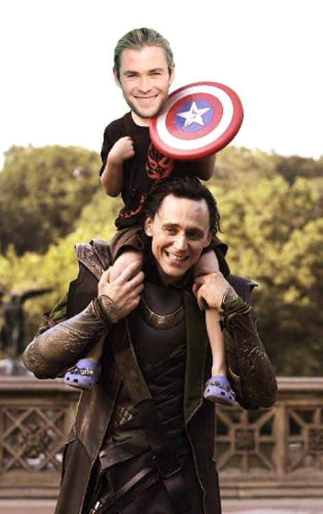 """Lets go! Uncle Loki!"" Mini Chris.  Thats what i do in my life!"