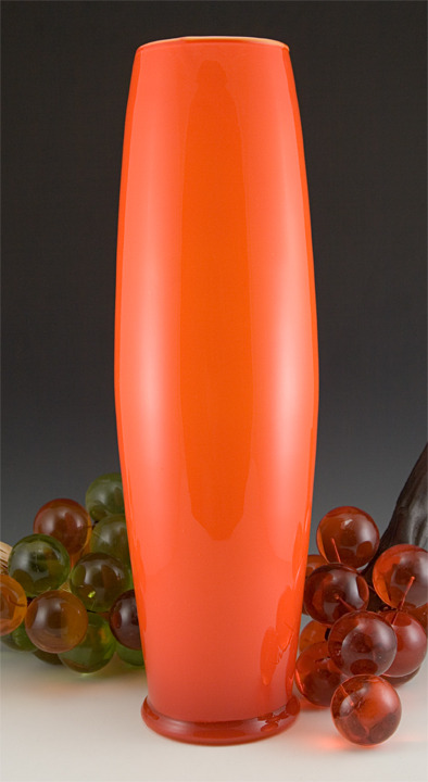 "Vintage Glass Large Blown Bullet Vase Atomic Orange Vintage intage orange-orange vase cased in white and colorless glass.  Stands 18½"" tall. Commands attention. Will brighten any room.  Makes the large lucite grape logs in image 2 below look small.  Made in Italy or Scandinavia, circa 1960 to 1970.  Hand-blown. In image 5 below you can see the solid ring of bottom-wear encircling the base just above the half circle light reflection.  The washed out section between the bottom-wear and the orange circle is a reflection."