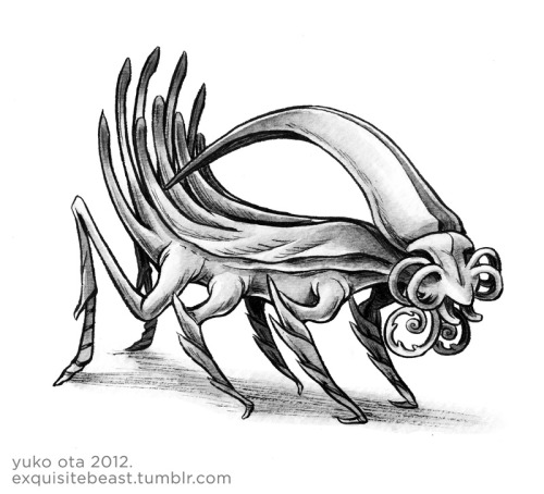 "The Fifty-fourth Beast. The beast has become more spindly and insect-like.  The layering on its back has split from its body and created a large head ornamentation, which rattles its tail-quills when shaken.  Its sensory ""eye"" organs have also bifurcated."