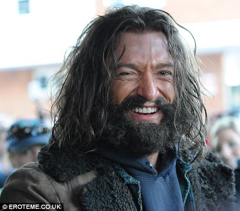 Hugh Jackman looking pretty scruffy on the set of The Wolverine. That's for the part set in Alaska, I guess.