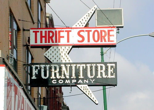 10 things to buy in thrift stores to save money. This is a quick breakdown - the full article is great! t-shirts pants furniture books (however I go to library…free!) dishware - you can find ultra retro cool stuff silver - silver ware! artwork home decor vinyl records accessories