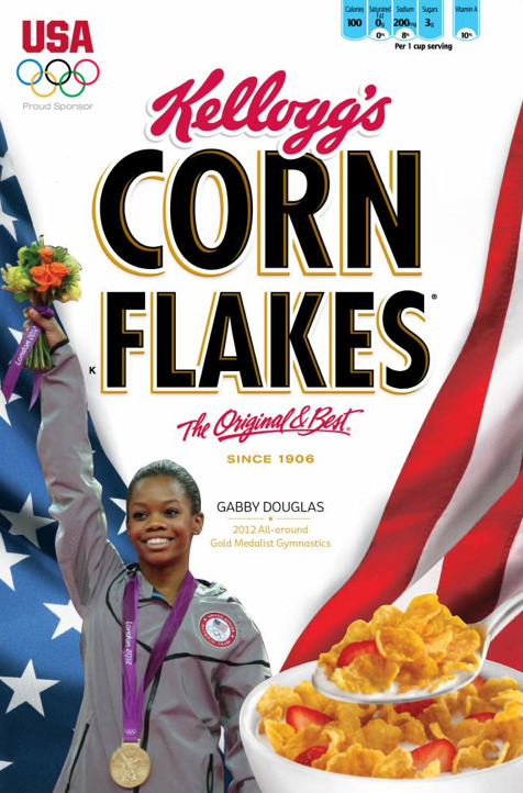 Kellogg's is putting Olympic All-Around champion Gabby Douglas on boxes of Corn Flakes.h/t https://twitter.com/darrenrovell