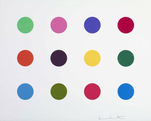 Damien Hirst Perillartine Woodcut 14.5 x 18 inches Edition of 55 From the outset of his career Hirst was interested in the possibilities of printmaking and the multiple image. One of the main strands of Hirst's work are the spot paintings which he first introduced in 1988. Referred to as his pharmaceutical paintings, Hirst invented the composition of coloured spots in a grid as a system offering endless possibilities with only one simple rule – for each work all colours could only be used once. The spot prints seduce through exuberant colours and are technically accomplished and labour-intensive as each spot needs to be inked individually before printing. The titles of each spot print derive from chemical substances used by the pharmaceutical industry.  Technique   A 2-inch spot woodcut, printed on 410gsm Somerset White Paper, published by The Paragon Press in 2012.