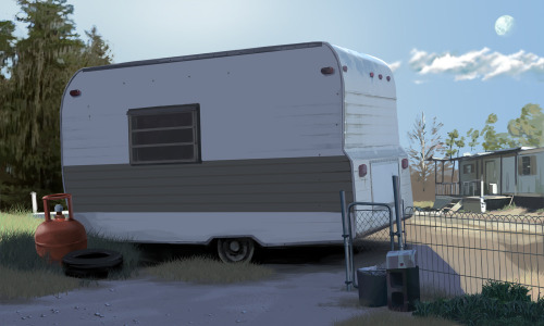 Here's another background painting from scene one- the trailer park. The kickstarter campaign is still live— but only for 6 more days. We're at 88% and rising. Please contribute and get us to that finish line by next week!  http://www.kickstarter.com/projects/1101984741/boxer-story-the-animated-short-film