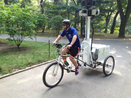muguide:  The Google Street View tricycle in Central Park this morning.