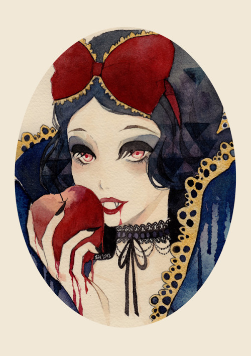Snow White Watercolour & ink! Fairy Tales series:Snow White |  Gretel | Sleeping Beauty ———-This print is up for giveaway now. Check this post to enter :)
