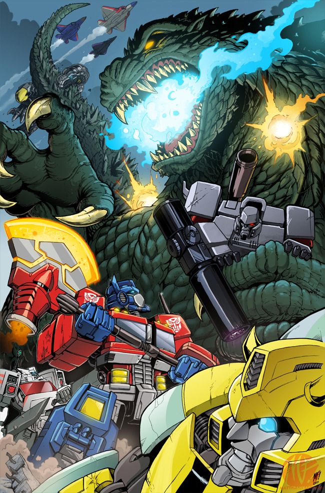 you-know-something-mean-gene:  Godzilla vs The Transformers by *KaijuSamurai