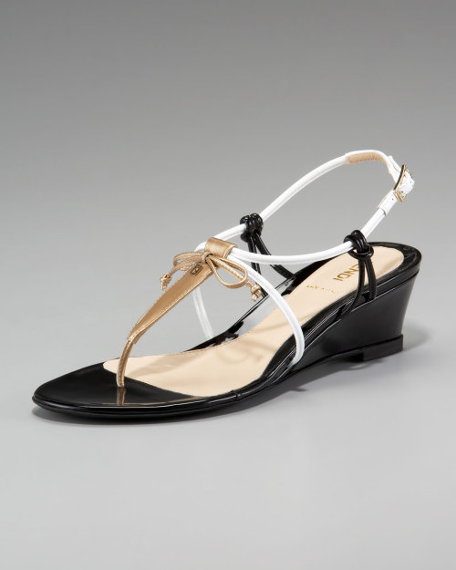 mutexme:  Fendi Bow Wedge Thong Sandal for $ 202 (Original: $ 450.00) @ Neiman Marcus size 37