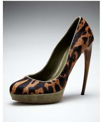 mutexme:  Alexander McQueen Printed Calf Hair Horn-Heel Pump for $ 582 (Orig $ 1295) size 36 The new basics: ocelot-print calf hair and a leg-sculpting horn heel gives exotic texture this covetable Alexander McQueen pump.
