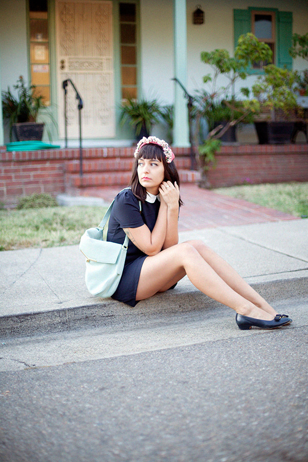 so adorable! love that dress and bag. calivintage:  new outfit post is up! pagan poetry. you can click here for more photos and outfit details!