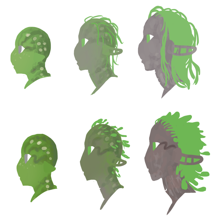 No one has ever asked where the markings on some Dryads' faces come from, but I felt like explaining anyway. Basically sometimes some of the baby markings get stuck and never fade out with the rest. And now you know. And now you also know sort of what Renwick and Luz looked like during the awkward in-between, when they had bonded to their trees but hadn't fully grown into their adult features. That doesn't last long in Dryads. While they have a long adolescence like humans, the bit where they have half-developed bark texture and leaves only lasts about a year, and this exact medium wouldn't even last that long. Maybe a week before they've grown more tree-looking.