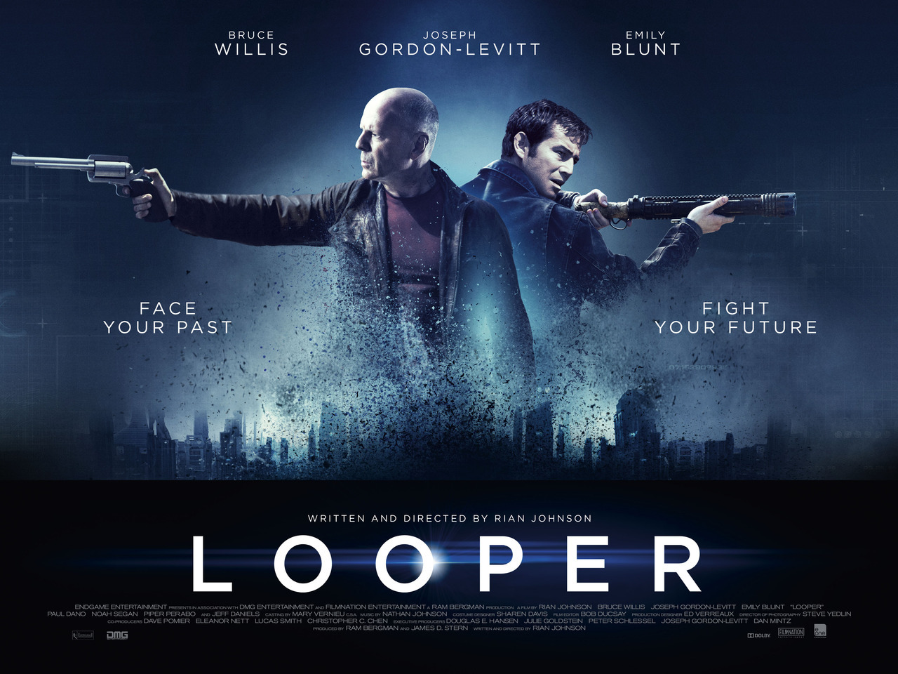 loopermovie:  Our new UK poster, c/o Yahoo Movies.  not really looking forward to this movie because i dont wanna see the lovely Jo looking like Bruce Willis :(