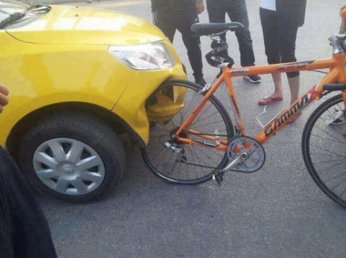 collegehumor:  Car Hits Bike; Bike Wins Man, they should melt down that bike and turn it into a car.  Gsas: A car made in China and a bike made in Germany…
