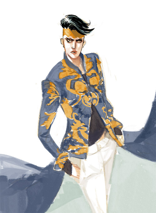 Kishibe Rohan + 3.1 Philip Lim SS 2013 Good morning. I'm going to walk the cat now, he's like why are you drawing instead of paying attention to me?? JoJo has ruined our lives