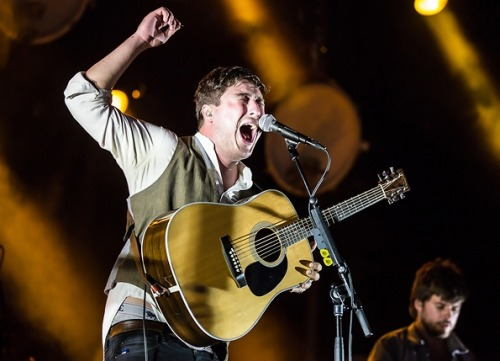 Marcus Mumford & Winston Marshall performing at Pier A Park in Hoboken on August 1, 2012. This photo, by Joe Papeo, is included in Rolling Stone's collection of the Hottest Live Photos of 2012. See more from Mumford & Sons' concert in Hoboken by clicking here.