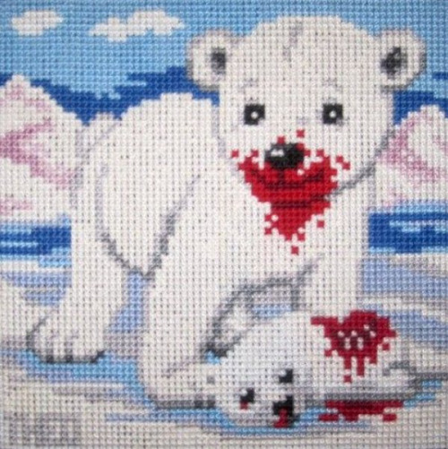 Polar Bear Eating a Seal Needlepoint What an adorable blood-covered carnivore.