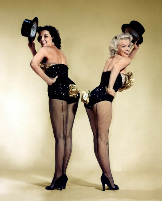 donaldmania:  thebeautyofmarilyn:  Marilyn and Jane Russell photographed in a publicity shot for Gentlemen Prefer Blondes, 1953  oh heck yeah!