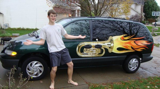 collegehumor:  Tuba Flames on a Mini Van I've got a car. Now I'm sure to get all the girls.