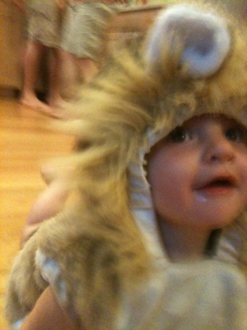 My son dressed as a lion with a small amount of vomit on his face.