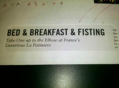 Bed and Breakfast and Fisting The quaintest fisting you'll ever receive.
