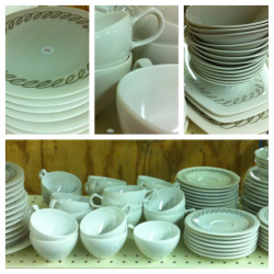 Huge 90 piece setting of Oneida Premier plastic dinnerware by Ben Seibel. #LeftBehind #ThriftBreak