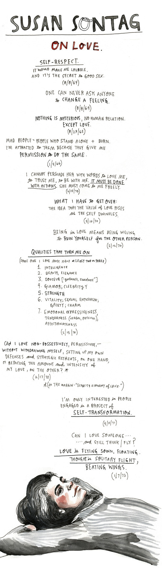 (via Susan Sontag on Love: Illustrated Diary Excerpts | Brain Pickings) Have we talked yet today about how much I worship Wendy MacNaughton?