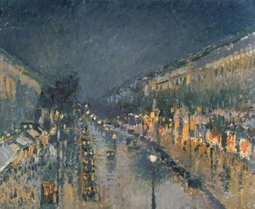 The Boulevard Montmartre at Night by Camille Pissarro, 1897 Of all the many versions of this scene painted by French Impressionist Camille Pissarro, I find the nighttime ones to be particularly effective. The Impressionists tended to reject the use of black, instead choosing to use dark blues, greys and violets to create dark areas. This technique has been used here by Pissarro for the Parisian night sky.