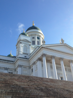 Looking up at the Helsinki Cathedral.
