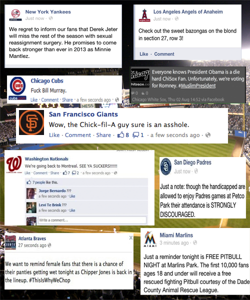 Somebody's hacking into all the MLB team Facebook accounts, and the posts they're making…oh, the posts they're making. (via Deadspin)