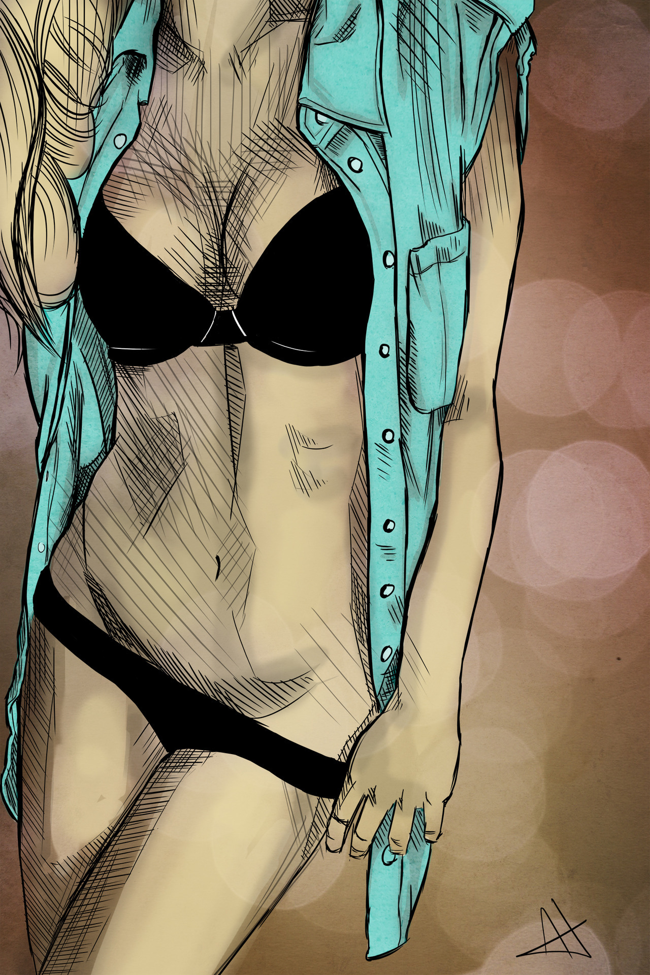 i-art-you:  Female Model's Torso.Sketch, cept it took me 2 hrs -__-Enjoy :)