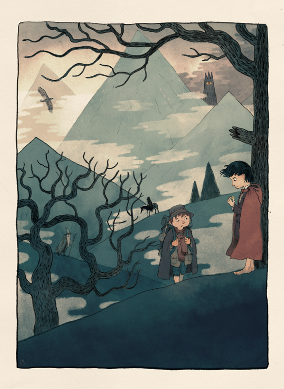 Here's a Lord of the Rings inspired piece I did for Silver Screen Society.I think I remember reading that Sam wore a not very flattering hat, I'd have to check. Head over to the Silver Screen Society website to see everyone else's great pieces!