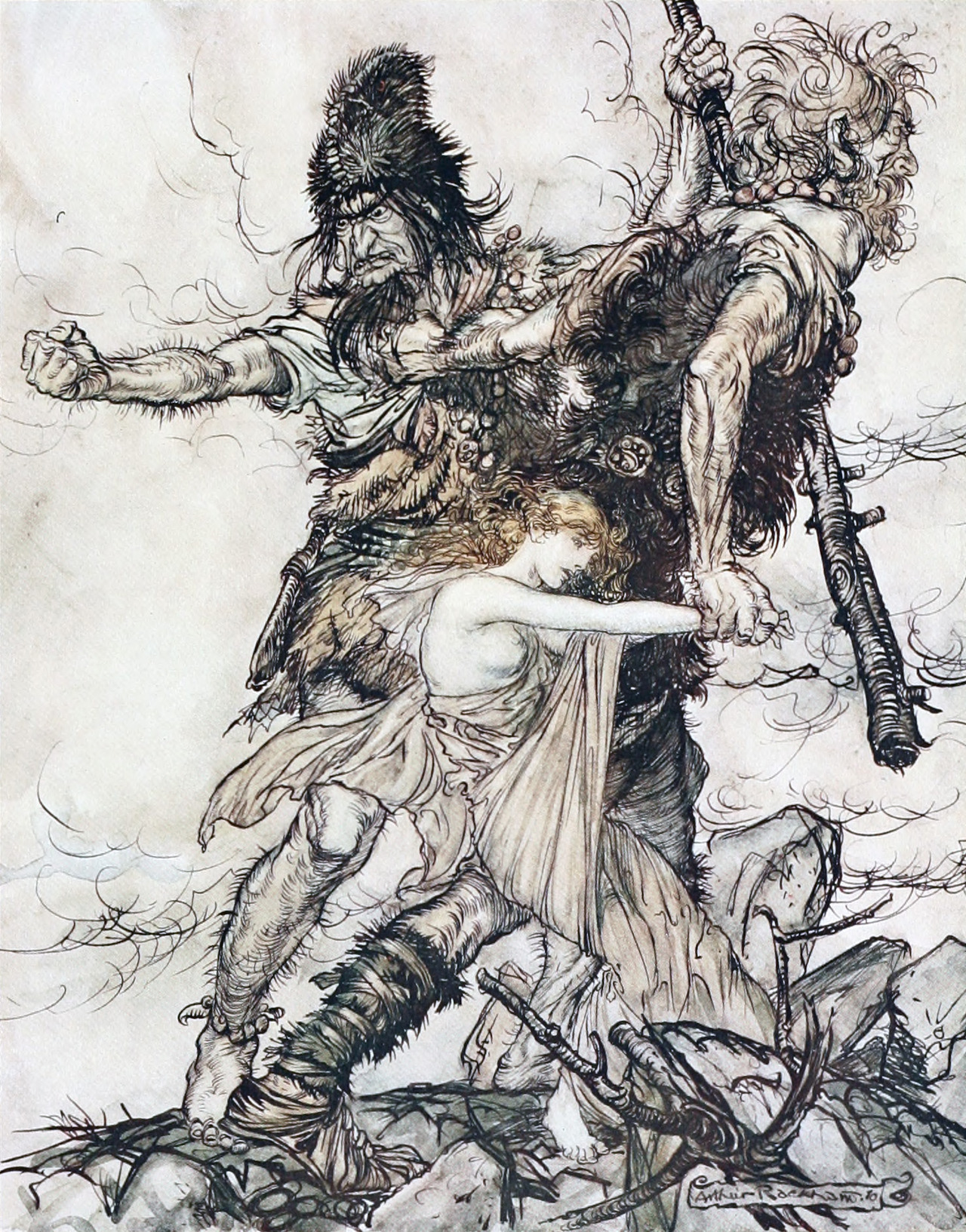 Rackham, Arthur (illus.) (1910) The Rhinegold & the Valkyrie, London: William Heinemann, p. 32.  Rackham seize Freya  Retrieved on 23 June 2011.