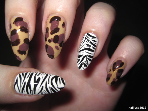 30 Day Nail Art Challenge Day 13 - Animal Print is it a leopard? a cheetah? giraffe? who cares. ++zebra to make it more safari than rockabilly yup.  Products used: OPI Ridge Filler China Glaze Classic Camel OPI Wooden Shoe Like to Know? Astor Longer Stronger #581 VIP Brown Finger Paints Paper Mâché SoEasy Stripe Rite Black Seche Vite