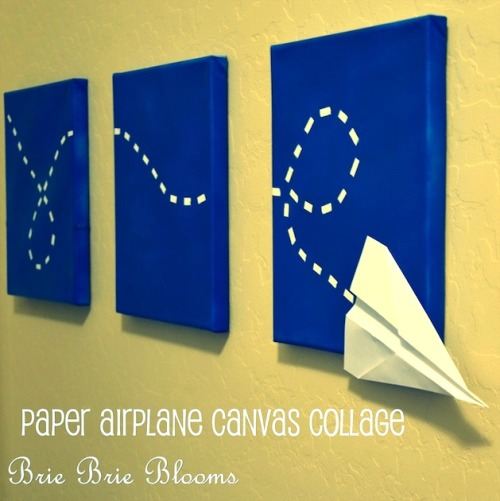 DIY Paper Airplane Wall Art Tutorial by Brie Brie Blooms for mom endeavors here.