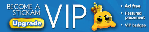 "Stickam is proud to announce that we now offer a VIP service for members!!! What exactly do you get as a Stickam VIP Member? AD FREE viewing on Stickam.com FEATURED space on our ""Who's Live"" page and top spot on live chat user lists VIP BADGE wherever your profile picture is shown on Stickam.com and over your icon in live chat user lists As well as 25 COINS for our Shuffle Marketplace Click here to get your exclusive VIP membership!"