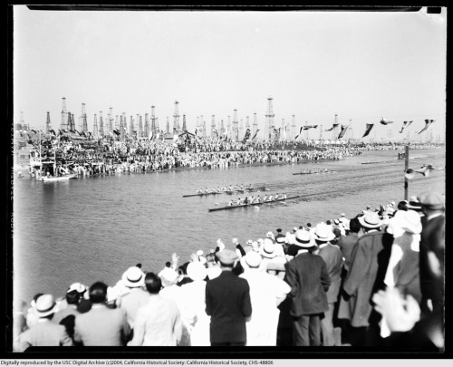 More Olympic rowing in Long Beach, 1932. The oil derricks don't quite outnumber the well-dressed spectators. From the Los Angeles Area Chamber of Commerce Collection in the USC Digital Library.