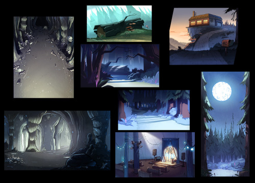 "ellemichalka:  Some various backgrounds and color keys from Gravity falls episodes ""Hand that Rocks the Mabel"" and ""Dipper Vs. Manliness"" Layouts and ink by Ian Worrel, Bill Flores and Sean Jimenez."