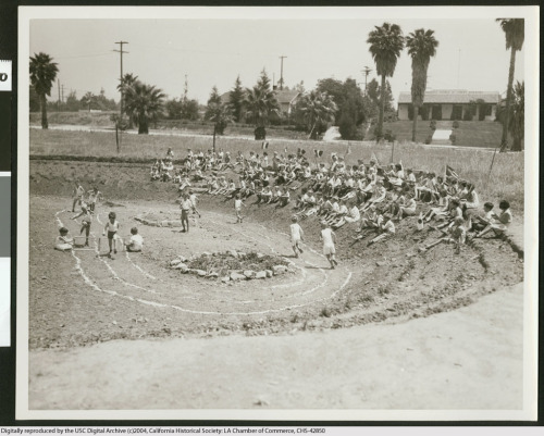 Possible makeshift Olympics for young fans, 1932. From the Los Angeles Area Chamber of Commerce Collection in the USC Digital Library.