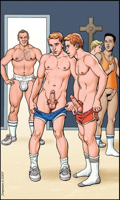 sebastianblog:  Church social…. MAGAZINE FEATURE: The Cartoon in Homoerotic Art For others in this MAGAZINE FEATURE and still others in this genre: http://sebastianblog.tumblr.com/search/cartoon  For additional pages: Add /page/2 or /page/3 etc. to this  Search URL. To navigate this site: http://sebastianblog.tumblr.com/sitemap      (via TumbleOn)